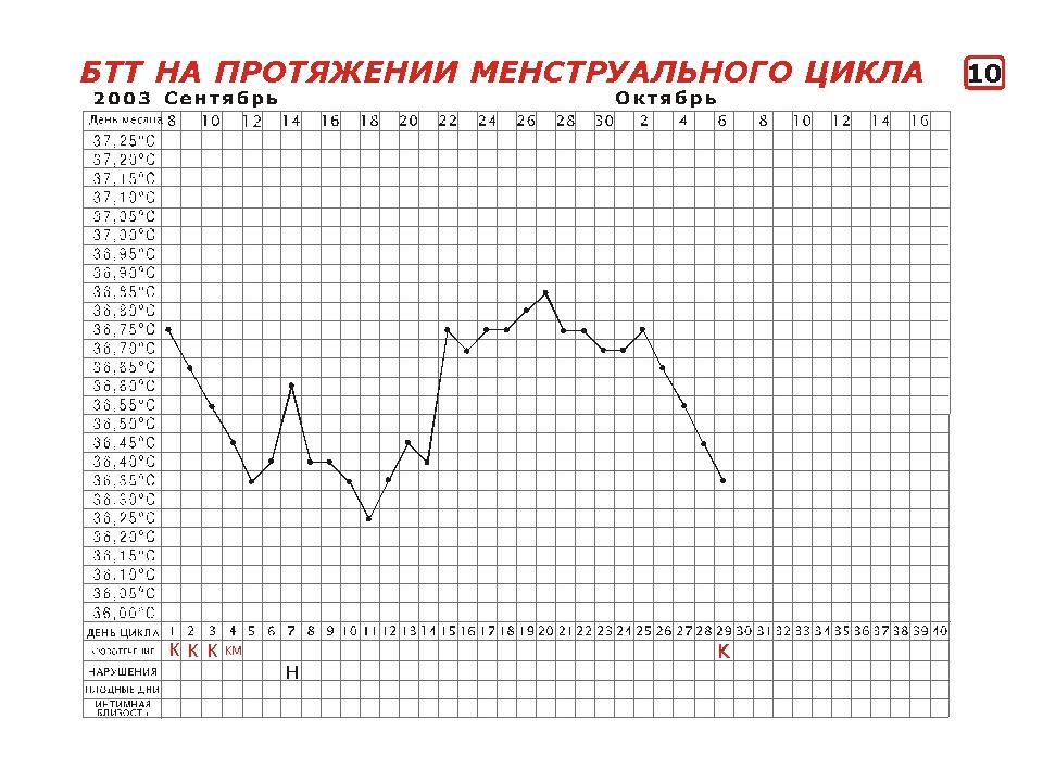 Базальная температура тела на протяжении менструального цикла
